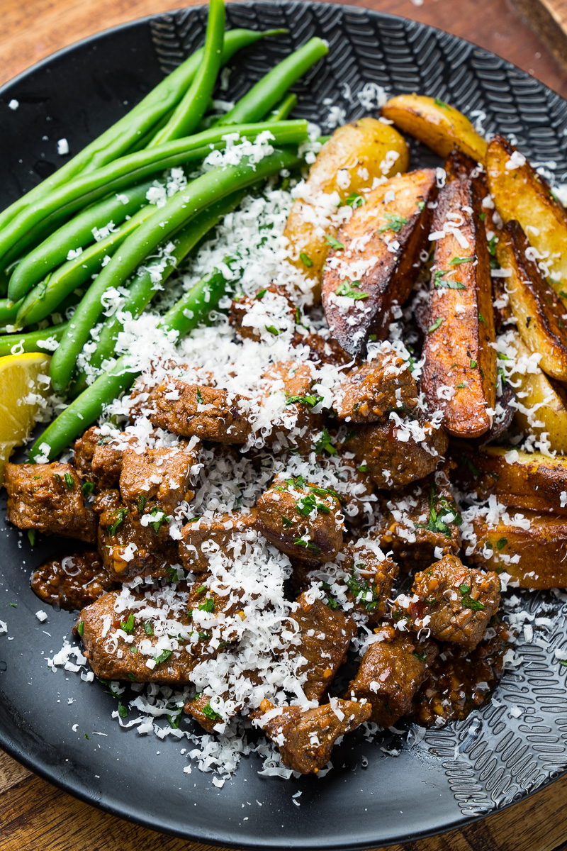 Garlic Butter Skillet Steak Bites and Potatoes