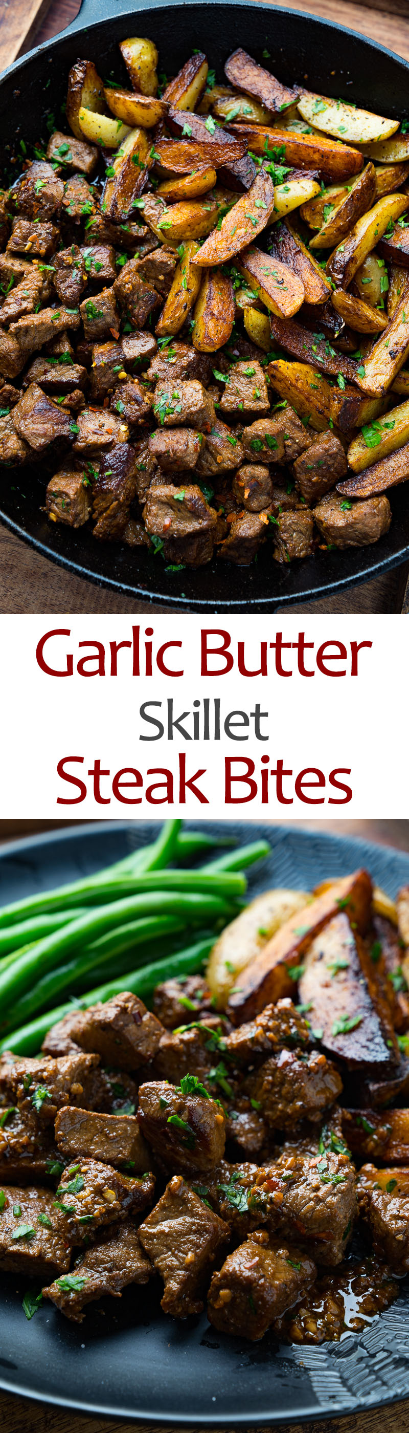 Garlic Butter Skillet Steak Bites and Potatoes