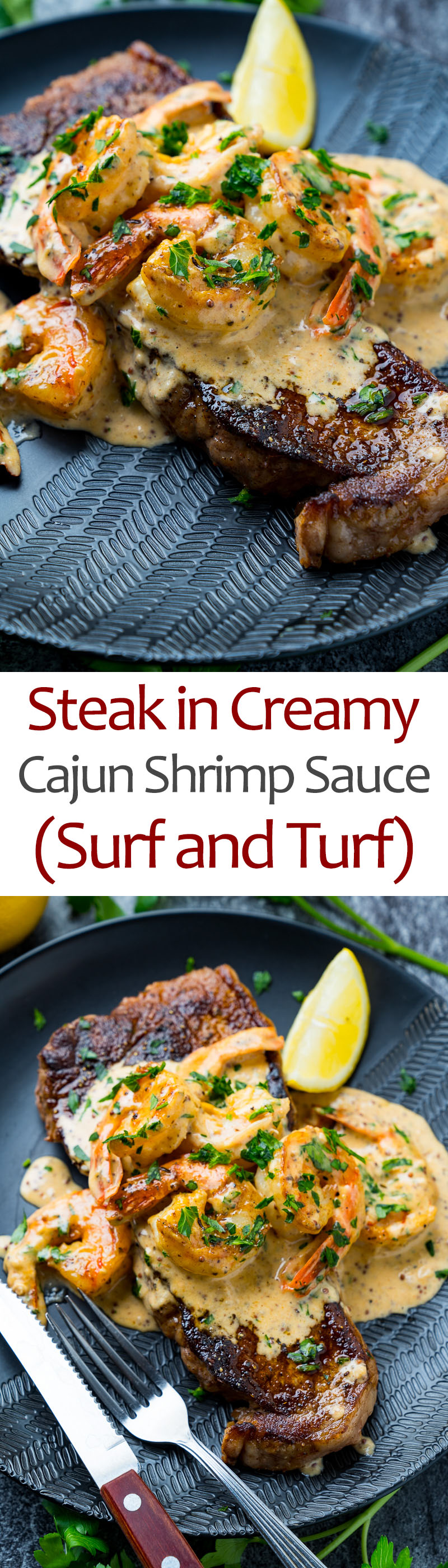 Steak in Creamy Cajun Shrimp Sauce (Surf and Turf)