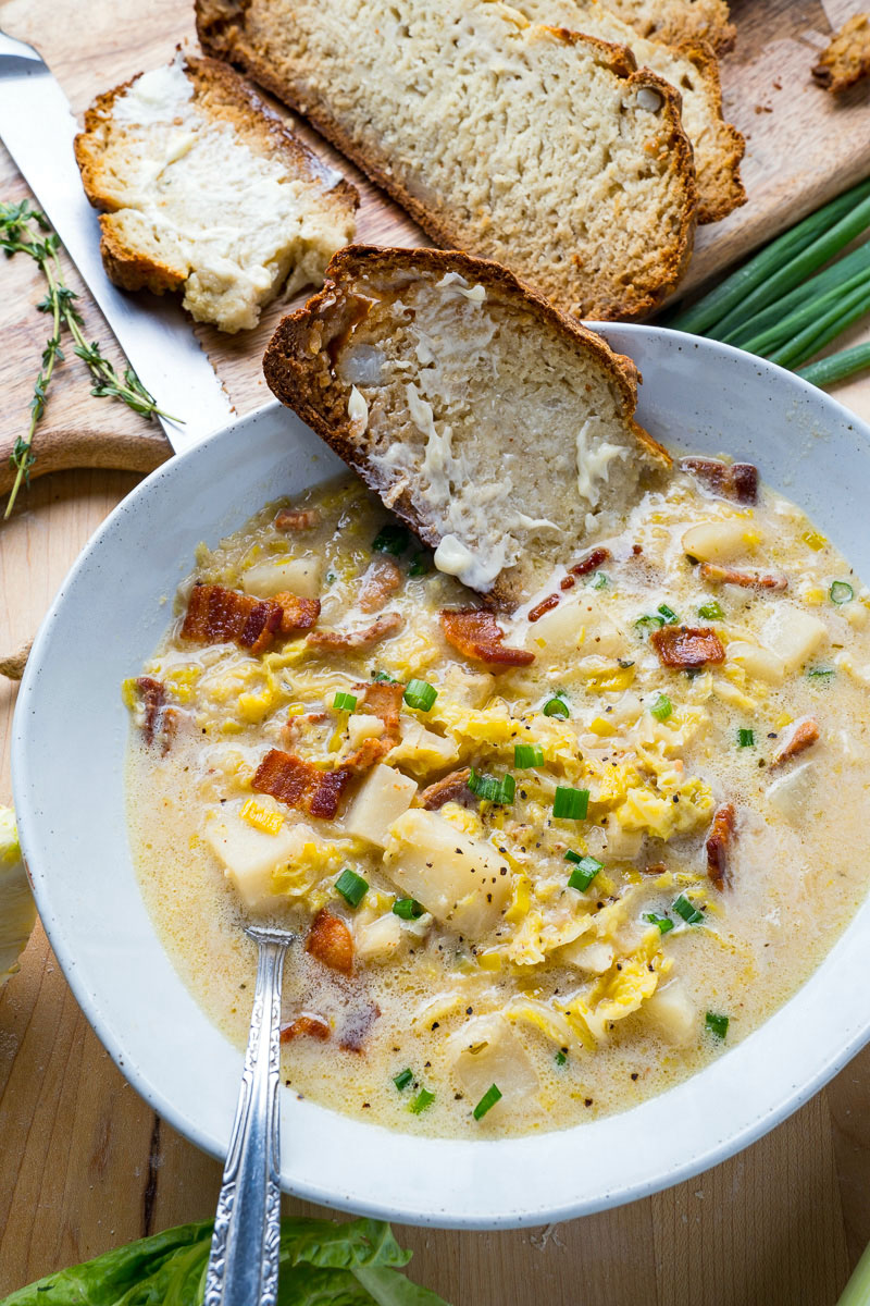 Colcannon Soup (aka Irish Potato and Cabbage Soup with Bacon)