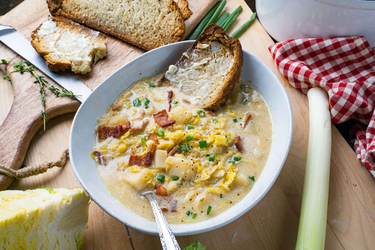 Colcannon Soup (aka Irish Potato and Cabbage Soup with Bacon)