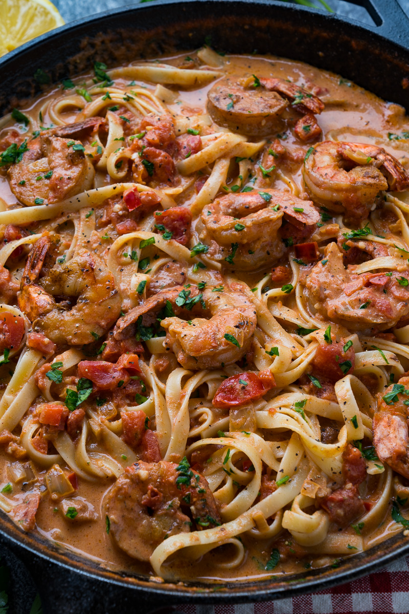 Creamy Cajun Tomato and Garlic Shrimp Pasta