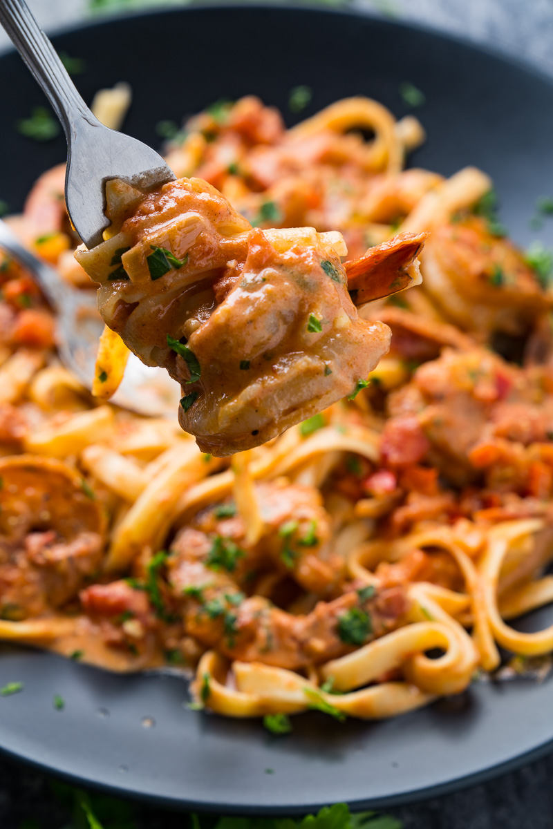 Creamy Cajun Tomato and Garlic Shrimp Pasta