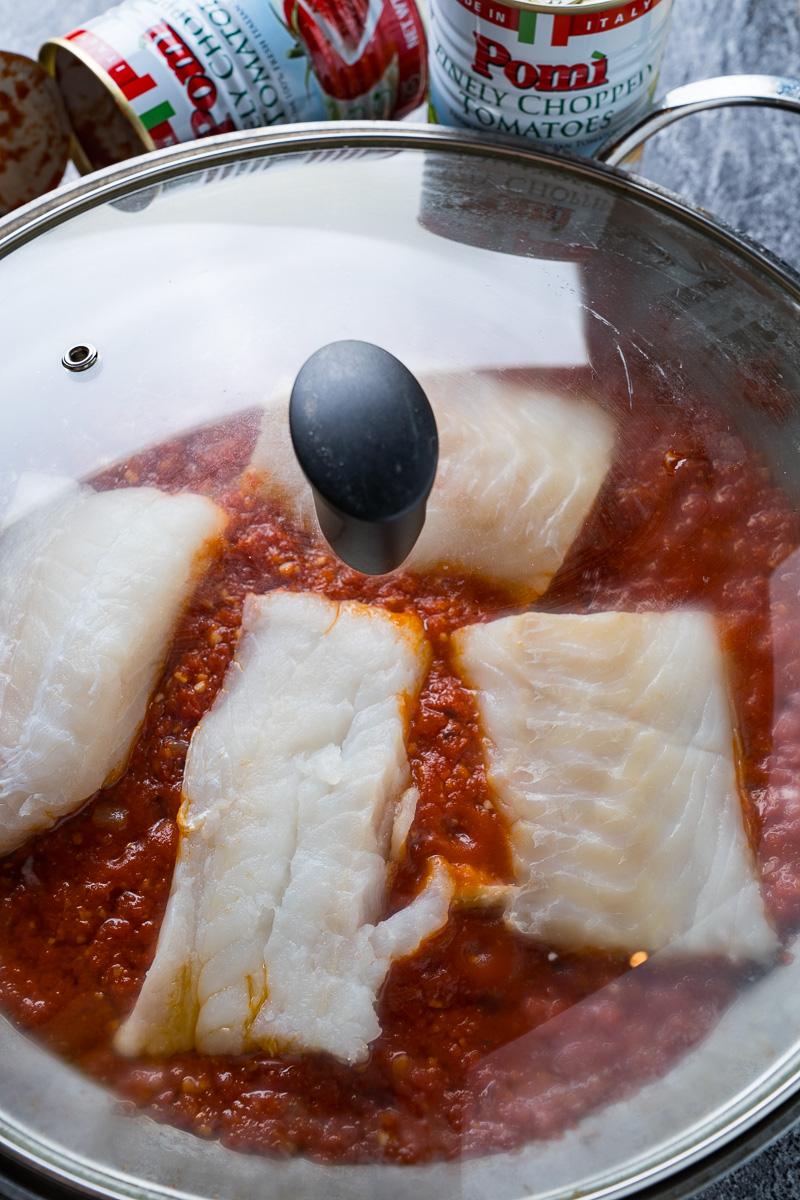 Cod Poached in Arrabbiata Sauce