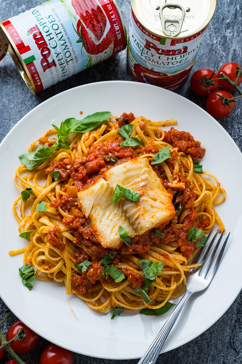 Cod Poached in Arrabbiata Sauce
