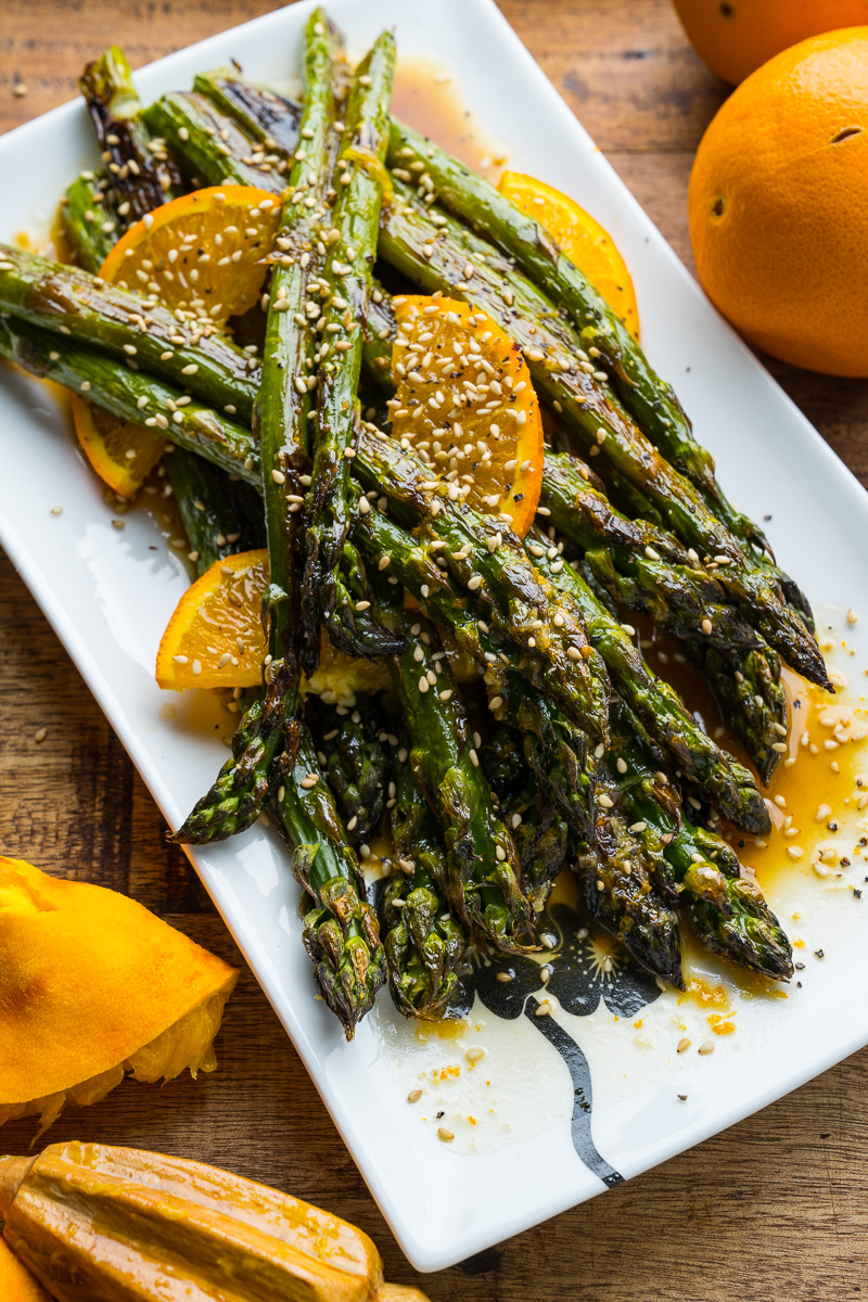 Orange Sesame Ginger Roast Asparagus