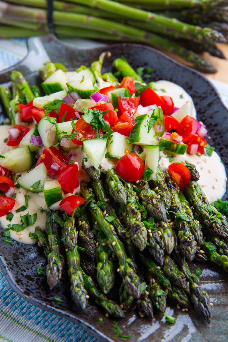 Grilled Asparagus in Lemon Maple Tahini with Tomatoes and Cucumbers
