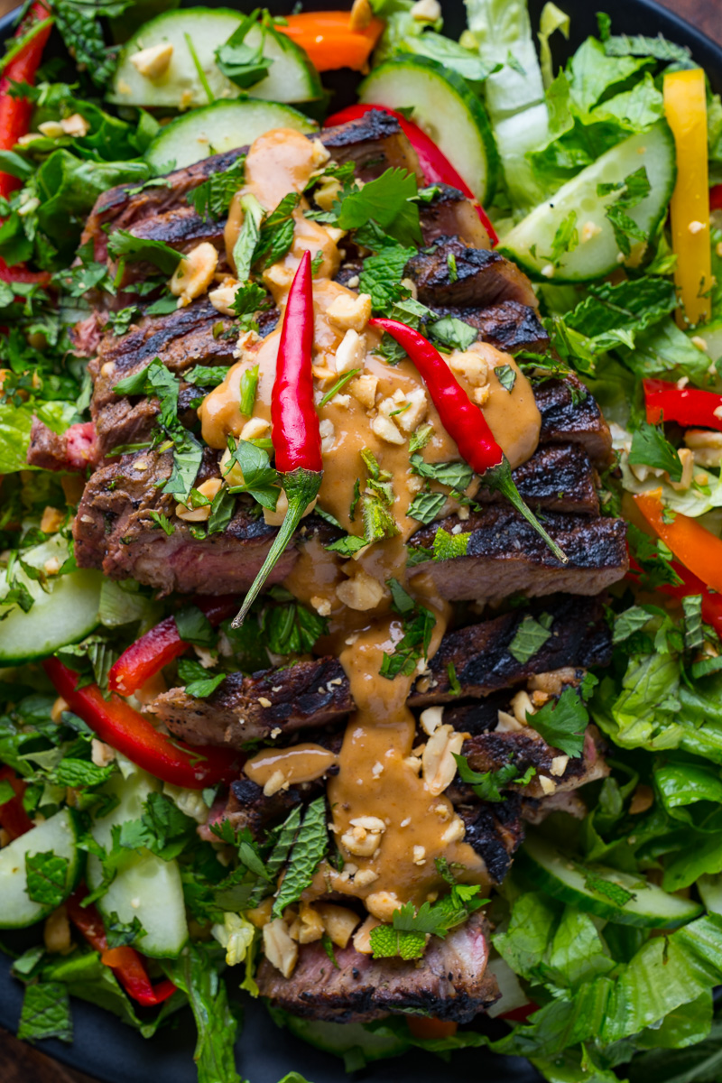 Thai Grilled Steak Salad with Peanut Dressing