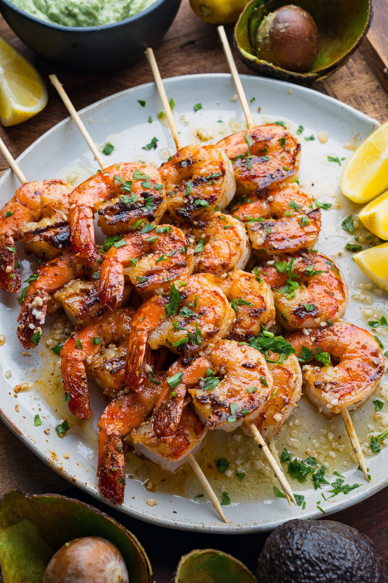 Cajun Butter Garlic Grilled Shrimp with Cilantro Lime Avocado Sauce