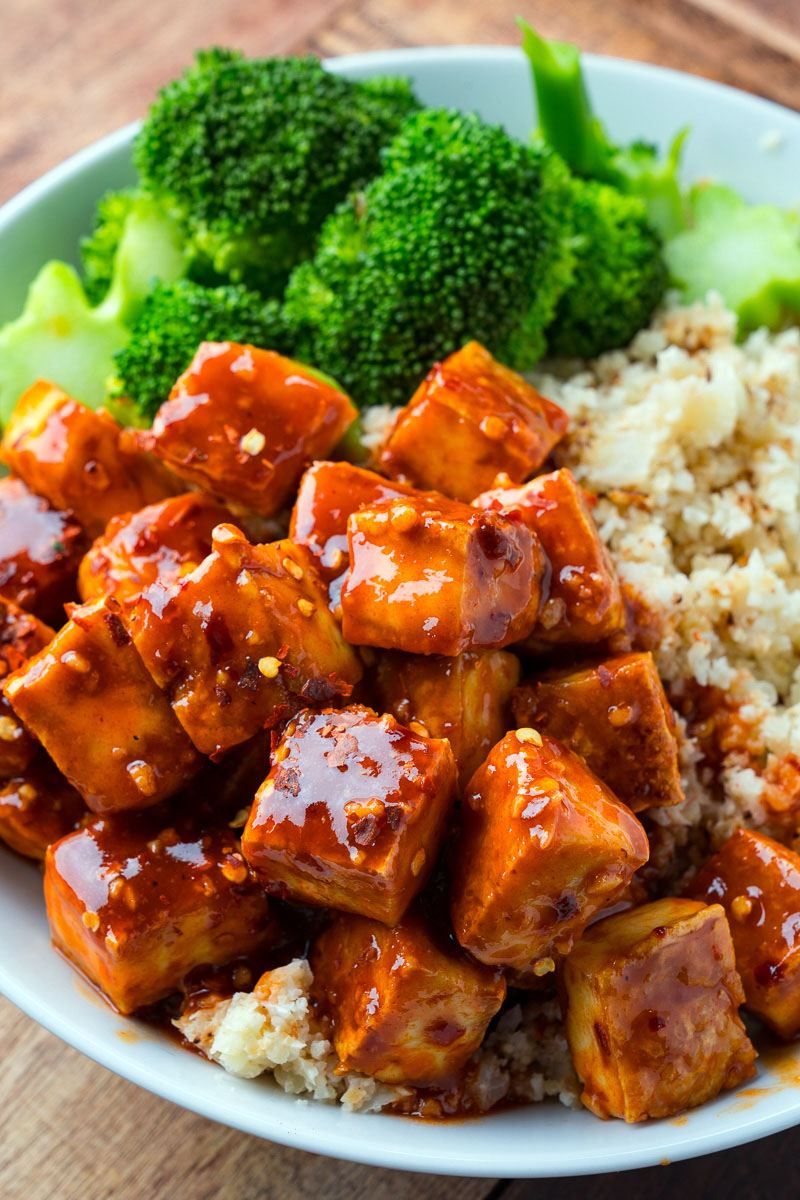 Crispy Baked Firecracker Tofu on Coconut Cauliflower Rice