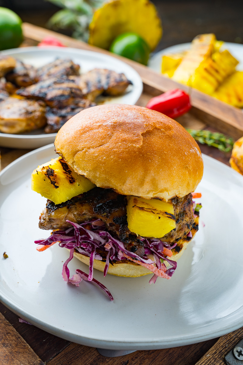 Jerk Chicken and Pineapple Sandwiches with Coconut Slaw