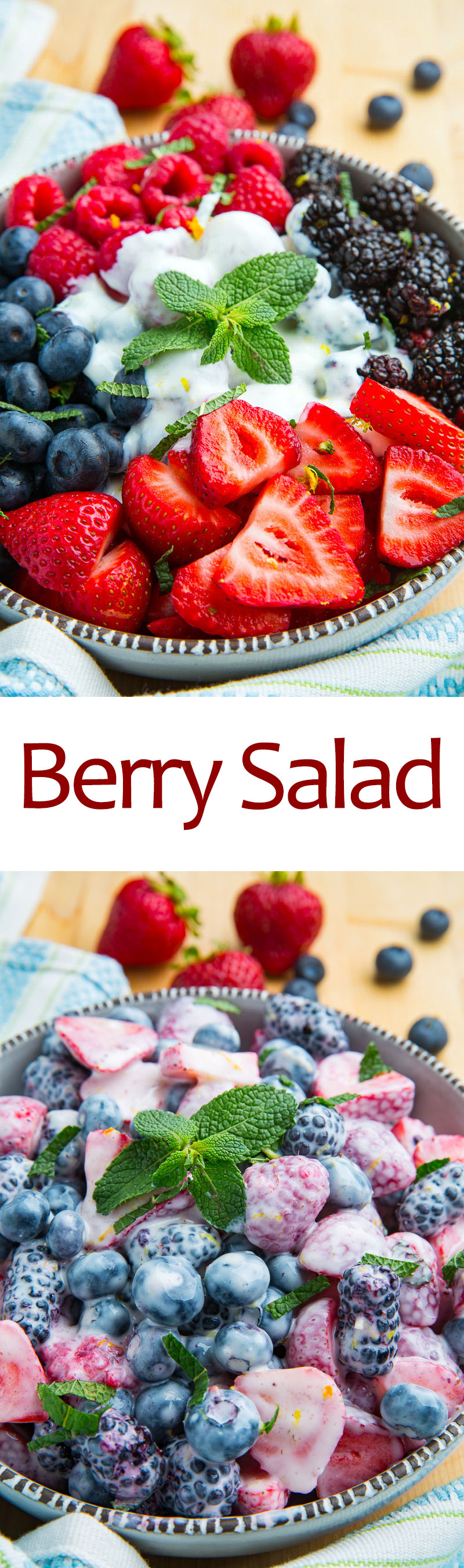 Berry Salad with Honey and Lemon Yogurt Dressing