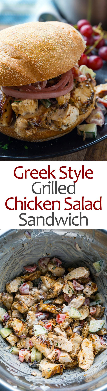 Greek Style Grilled Chicken Salad Sandwich