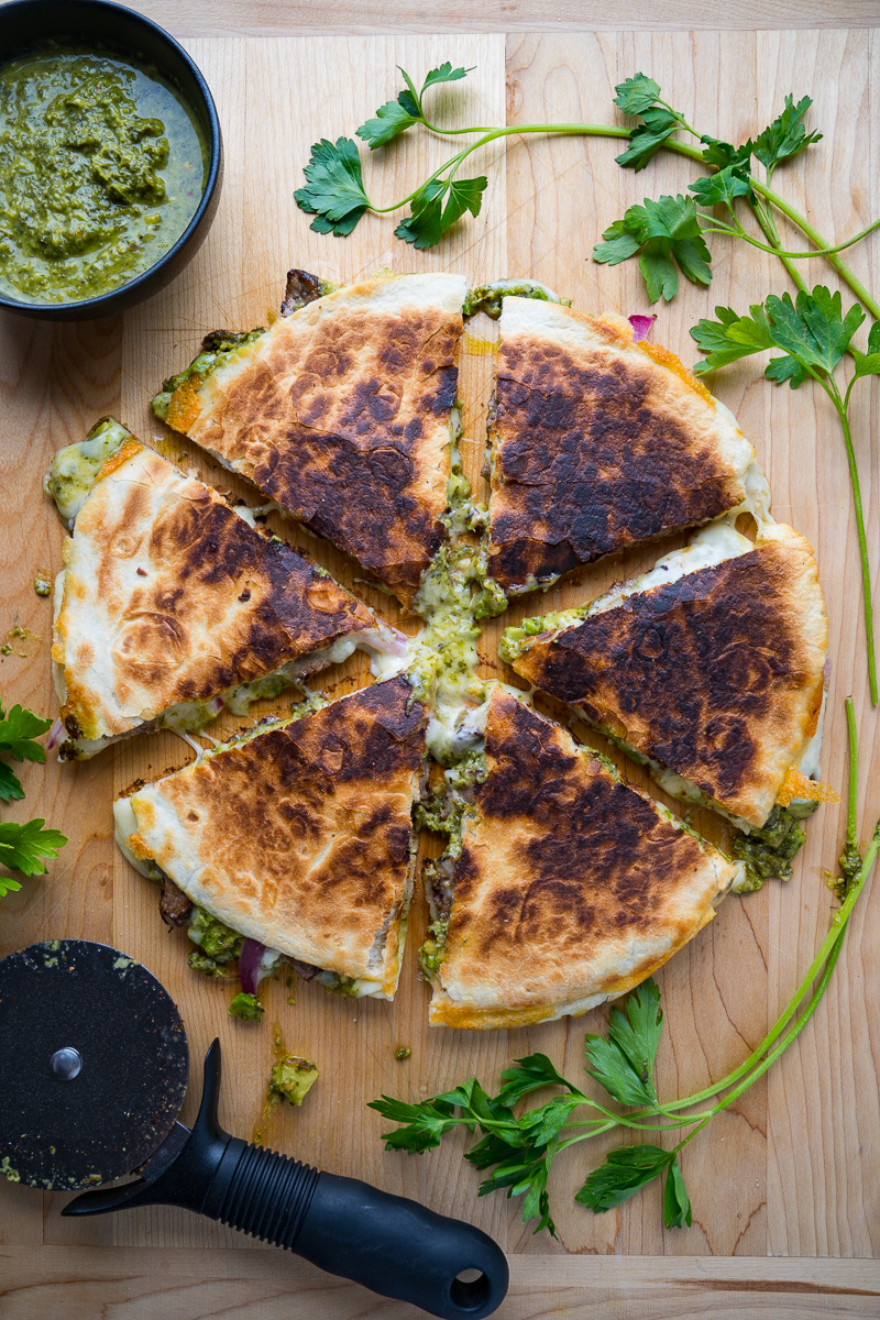 Chimichurri Steak Quesadillas with Avocado Chimichurri