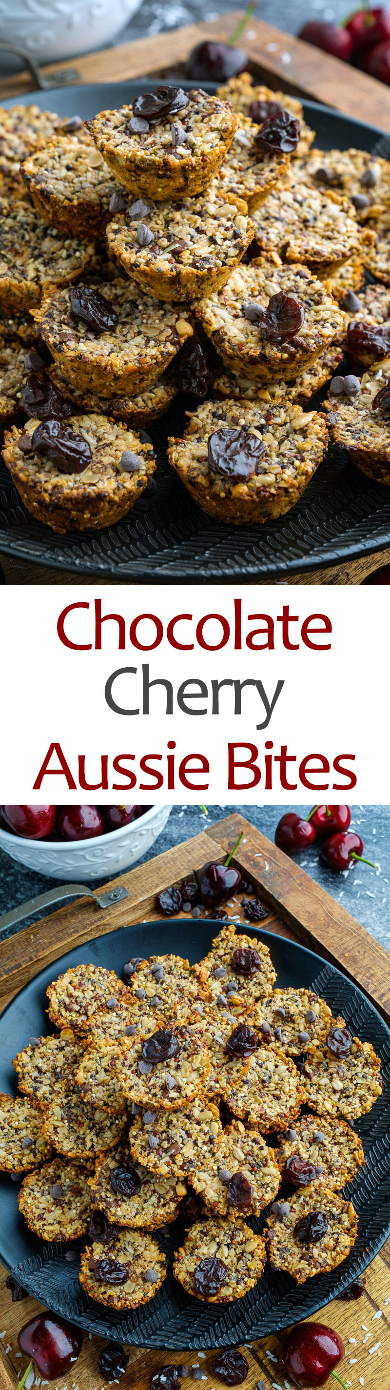Dark Chocolate and Cherry Aussie Bites
