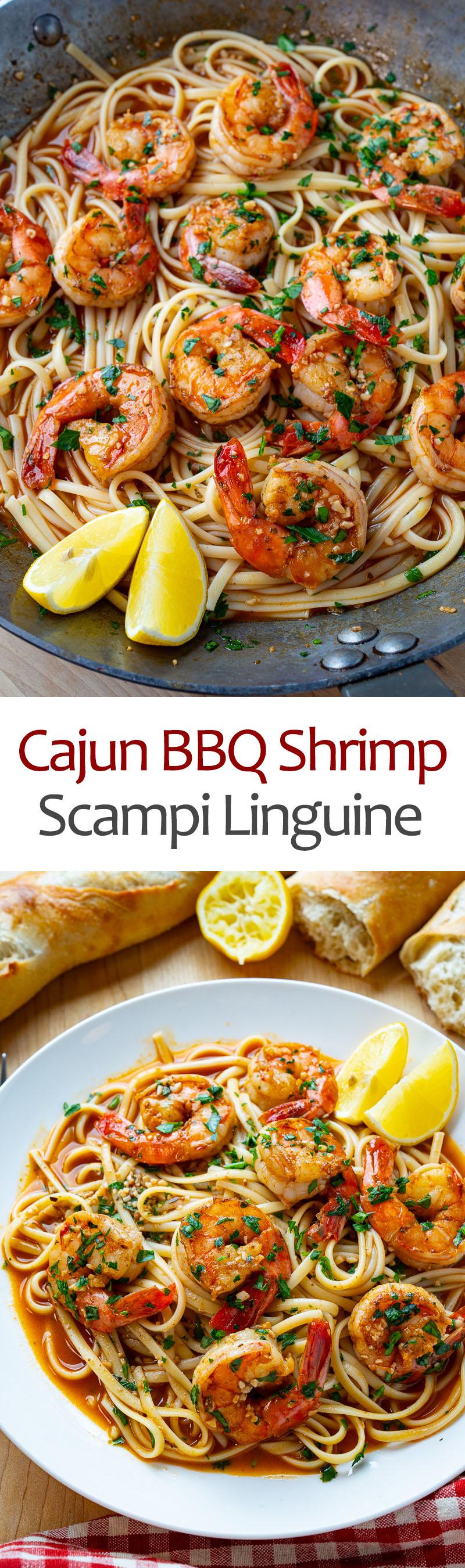 Cajun BBQ Shrimp Scampi Linguine