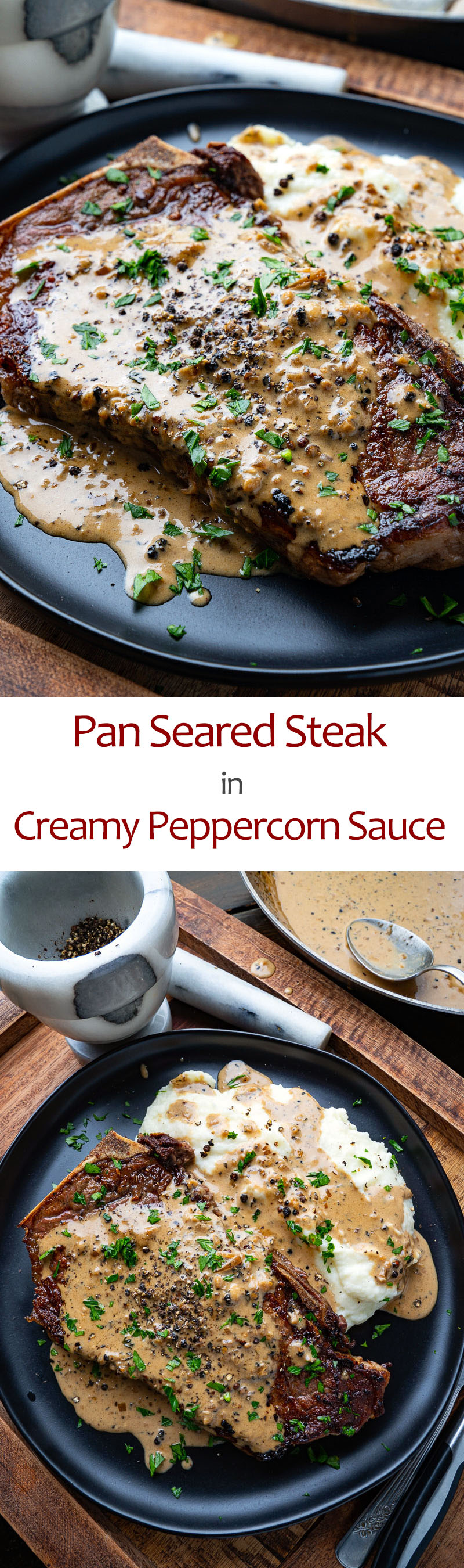 Pan Seared Steak in Creamy Peppercorn Sauce