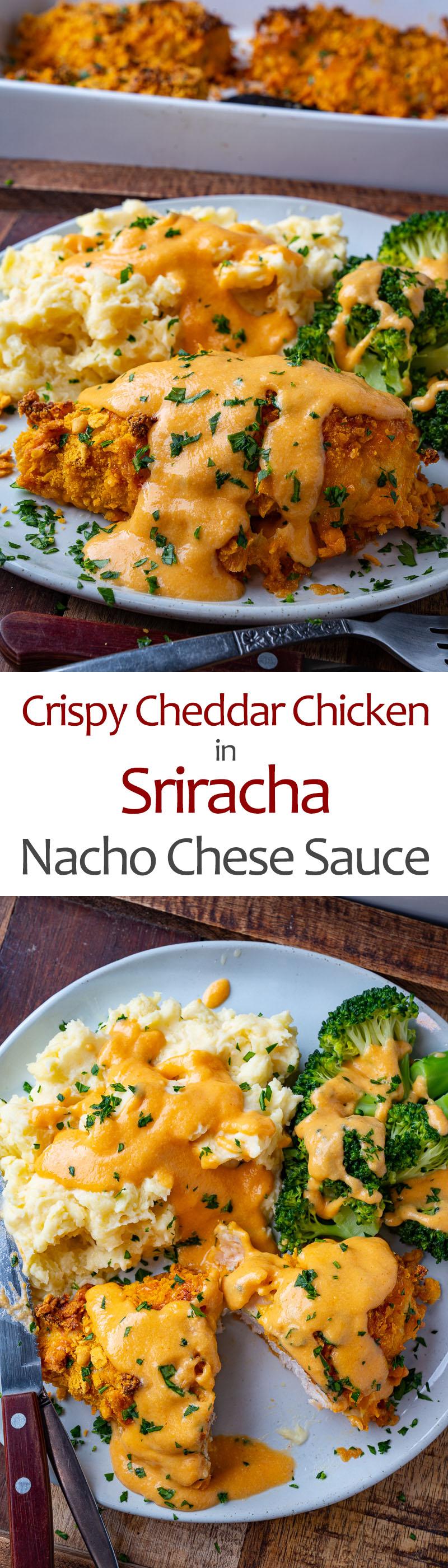Crispy Cheddar Chicken in Sriracha Nacho Cheese Sauce
