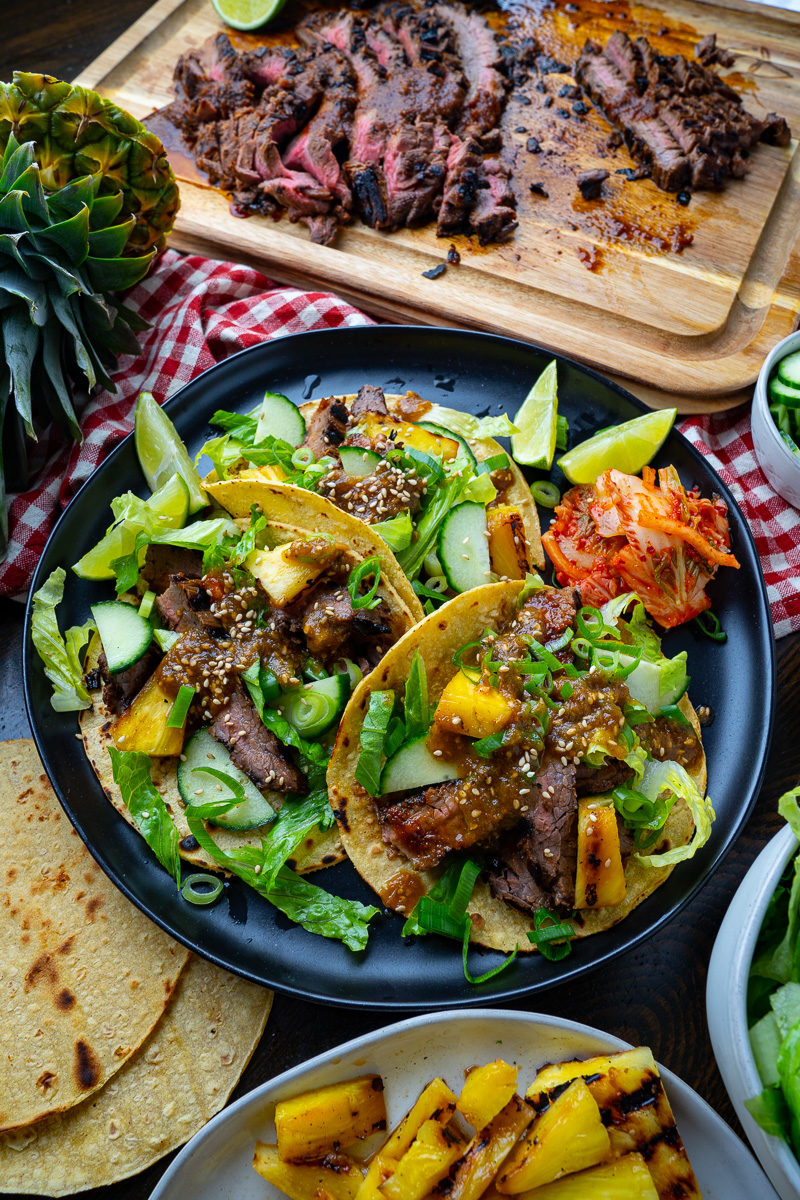 Korean Grilled Steak Tacos with Pineapple Gochujang Salsa