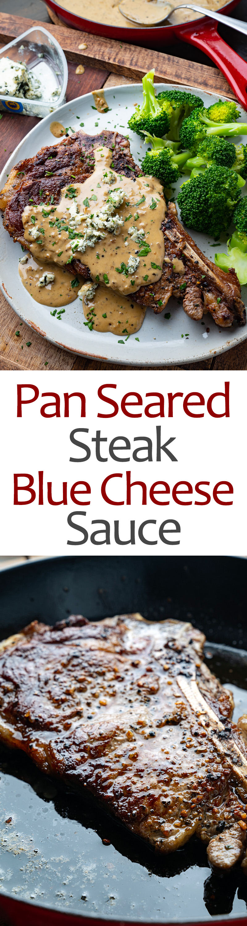 Pan Seared Steak in Blue Cheese Sauce