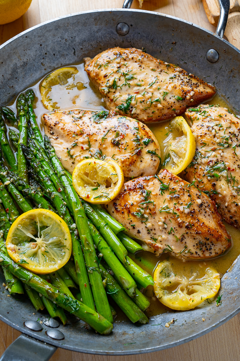 Lemon and Dill Butter Garlic Chicken and Asparagus