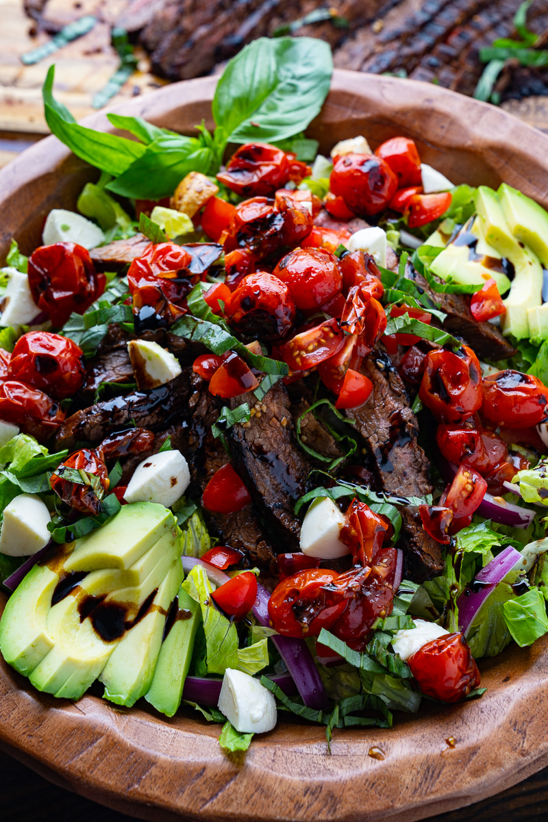 Balsamic Grilled Flank Steak Caprese Salad