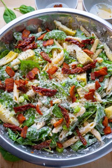 Spinach and Artichoke Pasta Salad