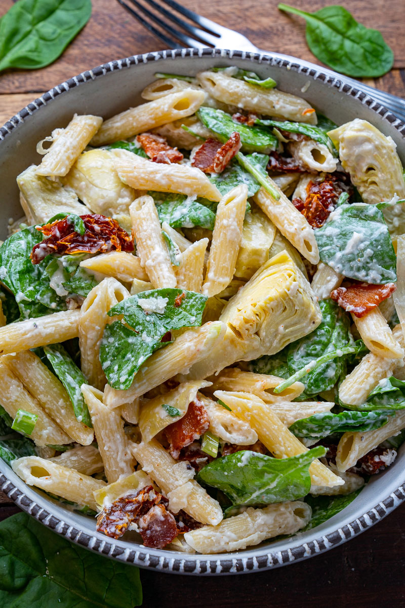 Spinach and Artichoke Pasta Salad