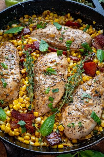 Creamed Corn Skillet Chicken