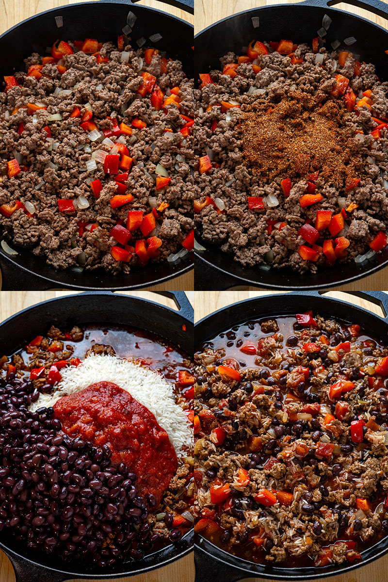 Mexican rice with beef and beans
