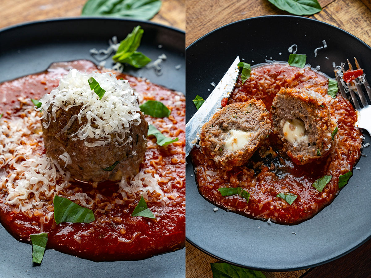 Giant Mozzarella Stuffed Meatballs