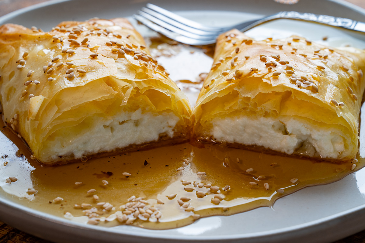 Crispy Phyllo Wrapped Baked Feta with Honey