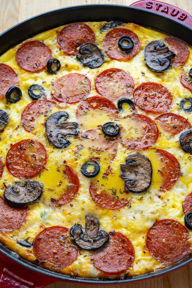 Pepperoni Pizza Egg Casserole