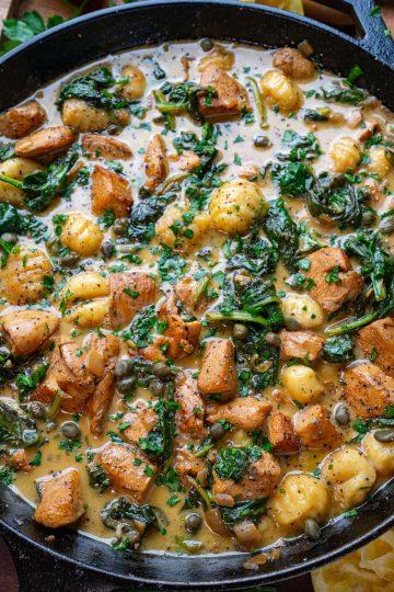 Chicken Gnocchi in a Cream Lemon and Caper Sauce