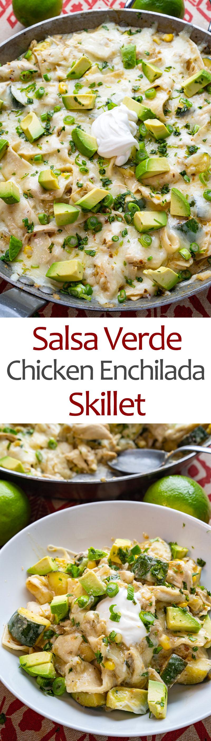 Salsa Verde Chicken Enchilada Skillet