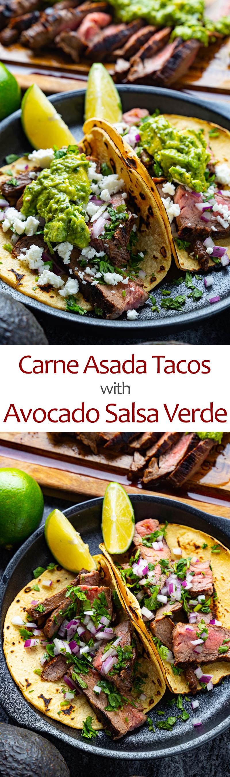 Carne Asada Tacos with Avocado Salsa Verde