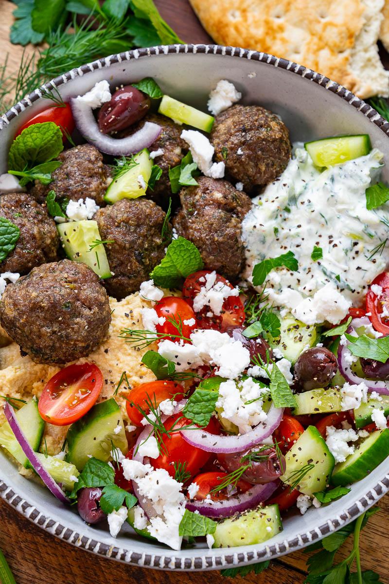 Greek Meatball Salad