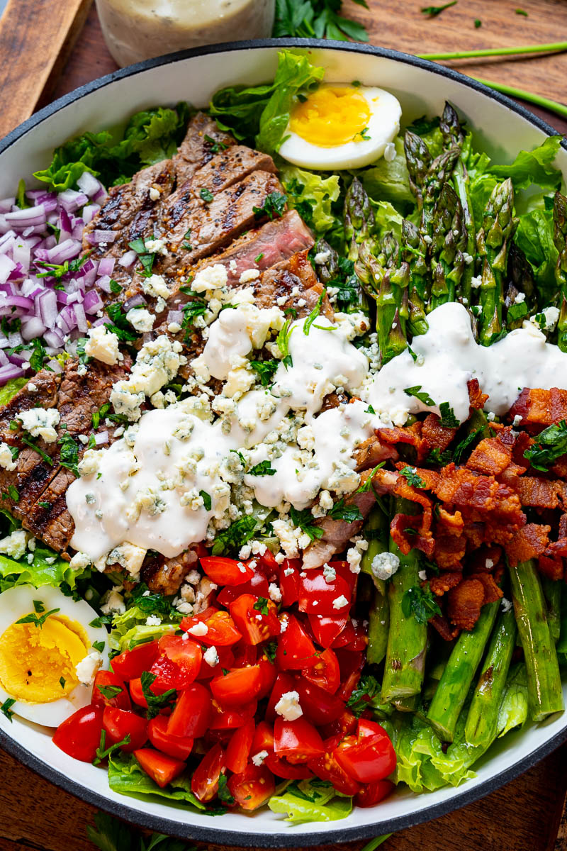 Steak and Egg Salad with Blue Cheese Dressing
