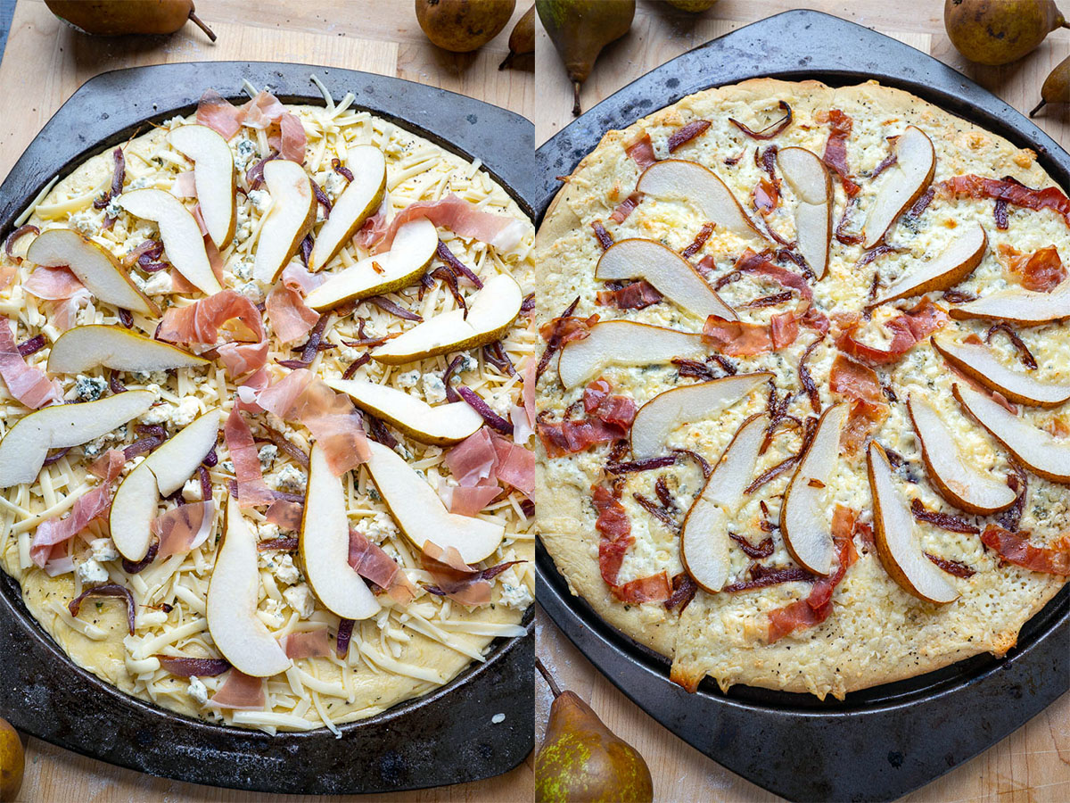 Pear Prosciutto and Blue Cheese Pizza